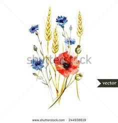 poppy, cornflower, wheat, watercolor, bouquet - stock vector