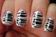 I don't like the way these look. Too messy. I think at least what i'm seeing in my head, the barcode would have to be a decal or something you could print and stick on your nails. That way it really looked like a barcode.