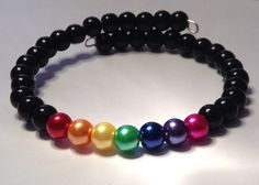 LGBT memory wire bracelet with 6mm glass Czech beads