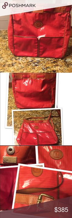 Very Rare Oversized Fendi Cross body bag This is a very rare vintage oversized Fendi crossbody bag. Made of red patent leather this is in great condition. Fendi Bags