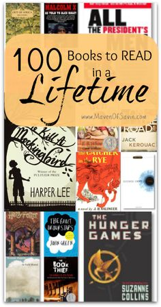 100 Books to Read in a Lifetime, so many I have read and desperately want to read... time to add some newbies to the reading bucket list
