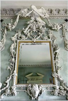 Peckover House century rococo limewood carving with eagle and ribbons over drawing room chimneypiece at Peckover House, Wisbech Cambridgeshire, England, photo via thisivyhouse Decoration Baroque, Non Plus Ultra, Art Nouveau, Fairest Of Them All, Vintage Mirrors, Beautiful Mirrors, Rococo Style, Through The Looking Glass, Dali
