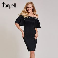 77.08 - Awesome Tanpell off the shoulder cocktail dress black half sleeves knee  length sheath gown 39c6d7bacf9d