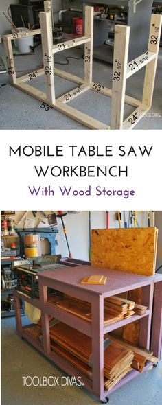 Free build plans. Table Saw Workbench with Wood Storage and additional pegboard storage for tools. Simple, compact woodworking project with storage. Build a workbench for your table saw in your garage. small workshop @ToolboxDivas #Toolboxdivas #workbench