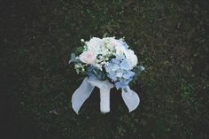 dusty blue and blush bouquet