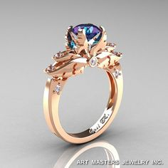 Classic Angel 14K Rose Gold 1.0 Ct Chrysoberyl Alexandrite Diamond Solitaire Engagement Ring R482-14KRGDAL