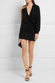 One-shoulder lace-up mohair and wool-blend mini dress