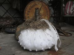 Upcycled White Pumpkin Make Do from Vintage by thebagglady76, $6.00-SOLD