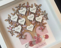 This personalised wooden family tree is the perfect gift for any occasion. Each tree is placed on a backing paper in a colour of your choice. The buttons are then handpicked to match your choosen colour scheme. Buttons will be placed at the base of the tree and amongst the branches. The white hearts are then hand stamped with your chosen names (8 names max). Whilst the frame shown says Our Family this can be changed to include your family name. Frames measure 25cm X 25cm and can be…