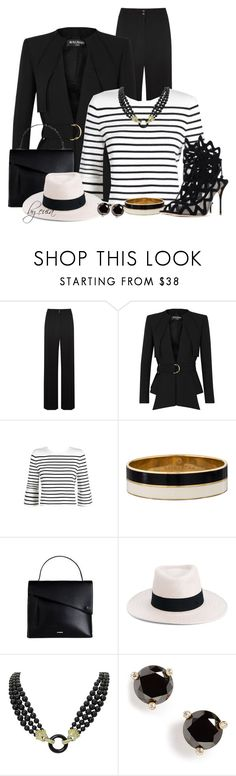 """""""Wear it in Black Pants (Outfit Only) Please Read"""" by eula-eldridge-tolliver ❤ liked on Polyvore featuring A.L.C., Balmain, Maje, Kate Spade, Maison Michel and Van Cleef & Arpels"""