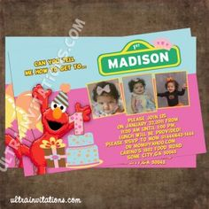 Your little love elmo, and she loved princess theme? Okay this pink elmo invitation is perfect for your kid's birthday celebration Elmo Birthday Invitations, Pink Invitations, Custom Invitations, Invites, Birthday Celebration, 2nd Birthday, Birthday Ideas, Princess Theme, Birthday Photos