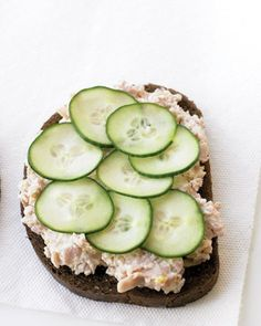 Ham-Salad Sandwich - Our take on this down-home favorite combines chopped ham with reduced-fat cream cheese, mango chutney, and Dijon mustard. This is a great way to use leftover ham. Serve the ham salad on pumpernickel bread with a layer of thinly sliced cucumber.