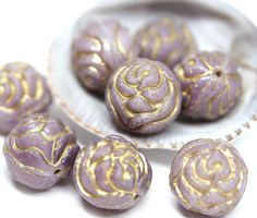4pc Rose Bud beads, Purple and Gold wash rose flower round bead, czech glass double sided design puffy rose - 13mm - 2436 by MayaHoney on Etsy