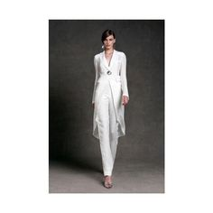 2015 Mother of The Bride Pant Suits V Neck Floor Length Long Sleeve... ❤ liked on Polyvore featuring dresses, white dress, white v neck dress, long sleeve floor length dress, v-neck dresses and boho dresses