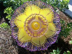 "Glass Garden Flower, Hand Painted, Original ""Dotty Flowers TM"",Upcycled, Suncatcher, Sculpture, Recycled,Garden Art, Cottage Garden,"
