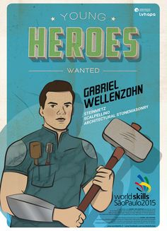 Für die Berufsweltmeisterschaft in SAO PAOLO - BRASILIEN entstand die illustrierte Kampagne YOUNG HEROES WANTED. Mehr unter: www.rotwild.it/blog Web Design, Comic Books, Memes, Blog, Fictional Characters, Italia, Advertising Agency, Brazil, Design Web