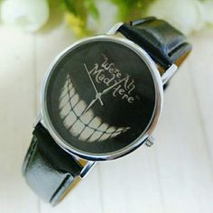 WERE ALL MAD HERE WATCH BLK BAND Great conversation piece. Alice in Wonderland  Cheshire Cats Grin. Adorable.  Faux leather band. Fashion Accessories Watches
