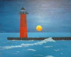 """North Pier Lighthouse""  20 x 16 acrylics on canvas panel."