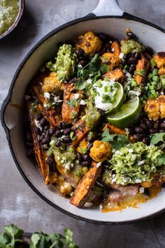 Sweet Potato and Black Bean Nachos with Green Chile Salsa - healthy nachos without forfeiting flavor! From halfbakedharvest.com
