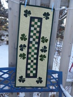 Shamrock Quilt, St. Patrick's Day Quilt, Shamrock Table runner