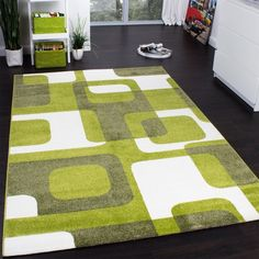 Designer Rug Carpet Woven Trendy Retro Style Home Small Large Rugs Green Grey