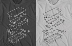 Exploded Phone 5, T-Shirt Design Shows an Internal View of the iPhone 5