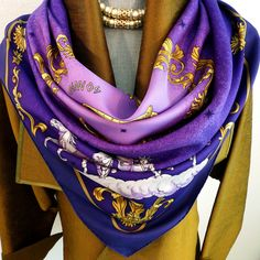 Authentic Vintage Hermes Silk Scarf Cosmos by Philippe Ledoux Purple