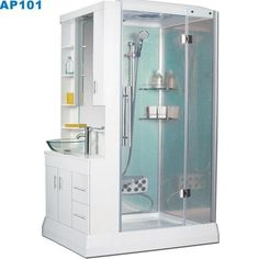 that is a compact shower and hand basin all in one.