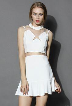 Star Mesh Insert Flare Dress in White