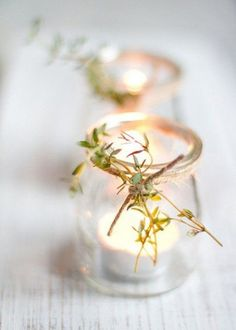 Dress up a simple table this holiday season with thyme-adorned tea lights Holiday Candles, Holiday Centerpieces, Wedding Decorations, Candle Decorations, Decor Wedding, Diy Wedding, Wedding Reception, Simple Centerpieces, Holiday Decorations
