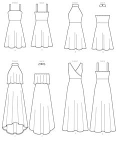McCall's Sewing Pattern Misses' Sleeveless Pullover Dresses with Neckline, Bodice, and Length Variations Dress Design Drawing, Dress Design Sketches, Fashion Design Sketchbook, Fashion Design Drawings, Art Drawings Sketches Simple, Fashion Sketches, Easy Drawings, Fashion Drawing Dresses, Drawing Anime Clothes