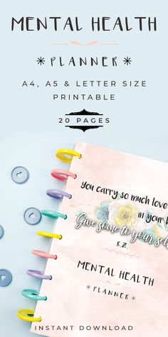 Taking care of our Mental Health is just as important as taking care of our physical health. Now you can improve your mental health and battle mental illness every day with the help of this mental health planner. #mentalhealth #mentalhealthawareness #mentalillness #anxietyrelief #personalgrowth #printables #journal