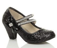 Low Heal Black Bridesmaid Shoes Childrens Heel Party Wedding Mary Jane