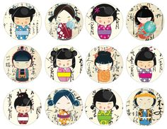 24 Kokeshi doll circles on a background of Asian writing, 2.5 inches in diameter...so cute!