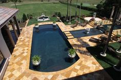 Gold Pool Deck #travertine #paver #gold #frenchpattern #contractor #homeimprovement #pool #poolcoping #decor #design #fixerupper #lifestyle #exteriordesign #marble #naturalstone Oval Above Ground Pools, In Ground Pools, Travertine Pavers, Brick Pavers, Deck Pictures, Pictures Images, Empire Romain, Image House, Pool Designs