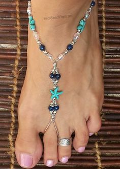 Blue Foot jewelry designed with the inspiration of the beautiful blue water in Mazatlan, Mexico. ♡ Mazatlan Blue ♡ Blue magnesite starfish, blue agate, glass and silver plated beads make up this beautifully blue set. Beaded Foot Jewelry, Ankle Jewelry, Beaded Sandals, Bridal Jewelry, Foot Bracelet, Anklet Bracelet, Anklets, Bracelets, Barefoot Sandals Wedding