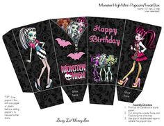 Monster High Mini Popcorn/Treat Boxes: ALL 3 Designs- INSTANT DOWNLOAD on Etsy, $4.00
