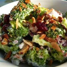 Broccoli Crunch Salad- very similar to the Souplantation salad, only with splenda instead of sugar, almonds instead of cashews, and white wine vinegar instead of apple cider.