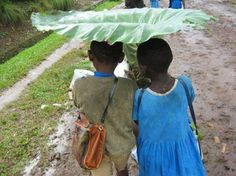 This is what children in the village use to substitute an umbrella. They are using local materials rightly. I love smart people