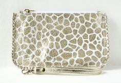 Leather Wristlet The Hoffman in Gold GIraffe by FatFatGoose