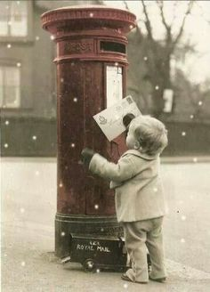 Christmas photography Little boy mailing letter to Santa Toni Kami Joyeux Noël Vintage color splash Noel Christmas, Little Christmas, Christmas And New Year, Winter Christmas, All Things Christmas, Vintage Christmas, Father Christmas, Christmas Letters, Christmas Cards