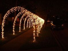 37 Creative Diy Outdoor Christmas Lighting Ideas - HOMEWOWDECOR Are you considering using outdoor Christmas lights this holiday season? If so, you are definitely not alone. Many people in … Christmas Arch, Christmas Lights Outside, Hanging Christmas Lights, Decorating With Christmas Lights, Christmas Night, Outdoor Christmas Decorations, Holiday Lights, Light Decorations, Outdoor Xmas Lights