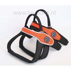 Tre Ponti Primo Fluoro oranje hondentuig met of zonder reflecterende rand. Oranje Boven!