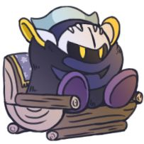 """drakdraws: """" based on a scene from the kirby anime where meta knight looks REALLY COZY IN A CHAIR IN HIS HOUSE """""""