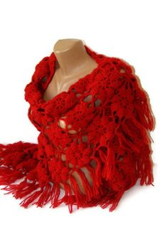 FREE SHIPPING Red crochet shawllace chrochet women by seno on Etsy, $75.00