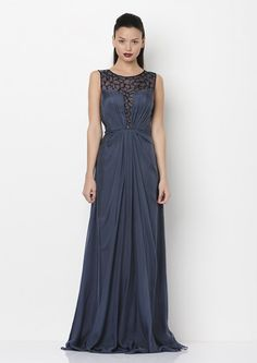 This midnight blue gown is #perfection. It even has detailed beading around the neckline!  For more information -   http://on.fb.me/1bYpbsO or email us at info@vividwear.com.au