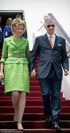 Queen Mathilde and King Philippe of Belguim arrive in Shanghai.