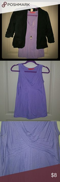 Pretty Pleated Purple Top Great condition tank with pretty pleated detail.  60% cotton, 40% modal. Elle Tops Tank Tops
