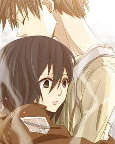 Shingeki no Kyojin - Mikasa and Eren Art based on ending scene of episode 8 - hearing Eren's heartbeat.