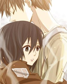 Shingeki no Kyojin - Mikasa and Eren Art based on ending scene of episode 8 - hearing Eren's heartbeat.